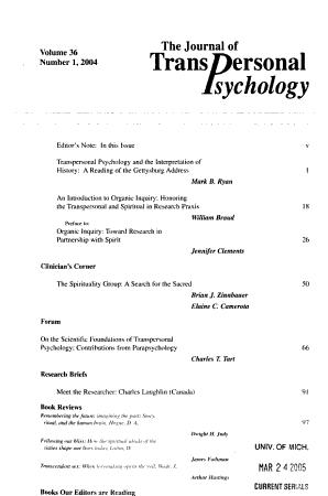 The Journal of Transpersonal Psychology PDF