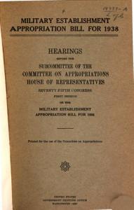 Military Establishment Appropriation Bill for 1938 PDF