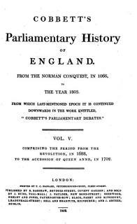 Cobbett s Parliamentary History of England  1688 1702 Book