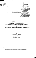 Economic Report  on  Sales  Promotion  and Product Differentiation in Two Prescription Drug Markets PDF