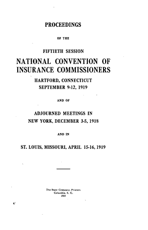 Proceedings of the Annual Session of the National Convention of Insurance Commissioners
