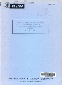 Spectral Shift Control Reactor Basic Physics Program  Quarterly Technical Report