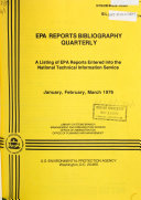 EPA Reports Bibliography Quarterly PDF