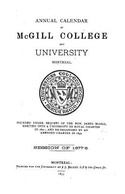 Annual Calendar of McGill College and University  Montreal PDF