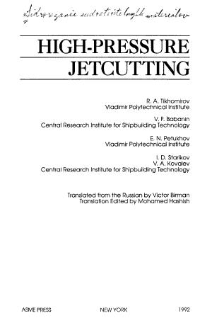 High pressure Jetcutting PDF