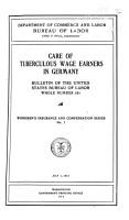 Care of Tuberculous Wage Earners in Germany     PDF