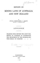 Reports on mining laws of Australia and New Zealand