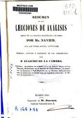 Resumen de las lecciones de análisis dadas en la escuela politécnica de Paris: Volumen 1