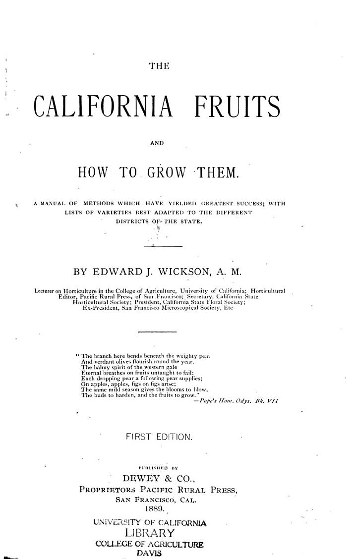 California Fruits and how to Grow Them