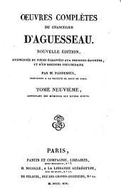 Oeuvres complètes: Contenant des mémoires sur divers sujéts, Volume9