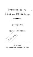 Oehlenschl  ger s Hugo von Rheinberg PDF