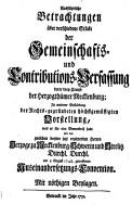 Ausf  hrliche Betrachtungen   ber verschiedene St  cke der Gemeinschafts  und Contributions Verfassung der drey Crayse der Herzogth  mer Mecklenburg PDF