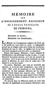 Lettre au Conseil municipal de la ville de Fribourg sur le verbal qui a été dressé d'office à l'école des garçons, le 13 mars 1823, pour constater les moyens que l'on emploie en faveur de l'enseignement religieux