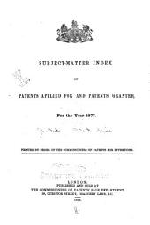 Subject-matter Index of Specifications of Patents