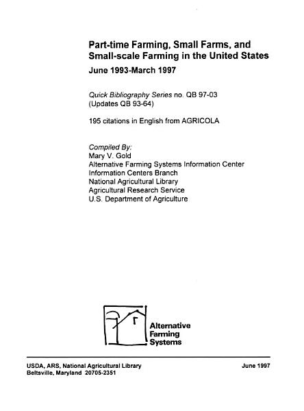 Part time Farming  Small Farms  and Small scale Farming in the United States PDF