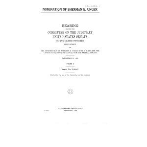 Nomination of Sherman E  Unger  September 29  1983 PDF
