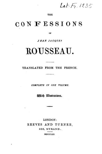 Download The Confessions of Jean Jacques Rousseau Book