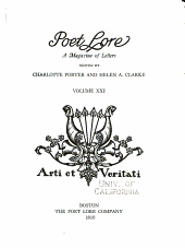 Poet Lore: Volume 21, Issue 4