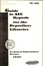 Guide to AEC Reports for the Depository Libraries