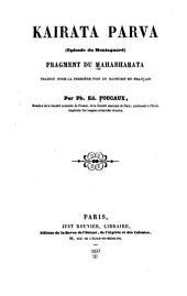 Kairata Parva (episode du montagnard): fragment du Mahabharata traduit pour la première fois du sanscrit en français