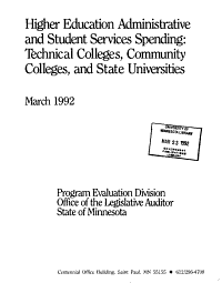 Higher Education Administrative and Student Services Spending