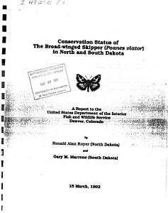 Conservation Status of the Broad winged Skipper  Poanes Viator  in North and South Dakota PDF