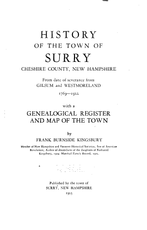 History of the Town of Surry  Cheshire County  New Hampshire PDF