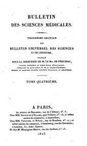 Bulletin des sciences médicales: troisième section du Bulletin universel des sciences et de l'industrie, Volume4