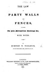 The Law of Party Walls and Fences