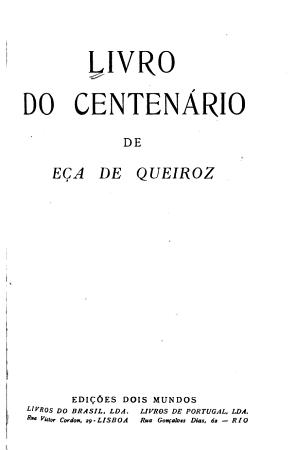 Livro do centen  rio de E  a de Queiroz PDF