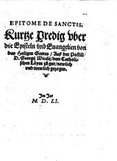 Epitome de Sanctis Kurze Predig oder die Episteln und Evangelien...