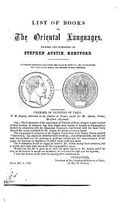 List of Books in the Oriental Languages  Printed and Published by Stephen Austin  Hertford PDF