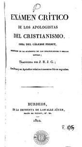 Exámen crítico de los apologistas del cristianismo