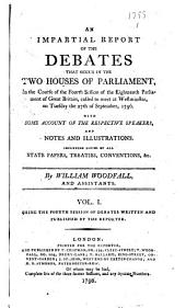 The Parliamentary Register: Or an Impartial Report of the Debates that Have Occured in the Two Houses of Parliament, Volume 1