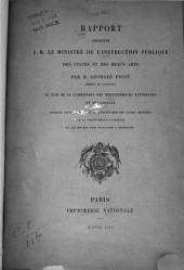 Rapport présenté à M. le Ministre de li̕nstruction publique, des cultes et des beaux-arts
