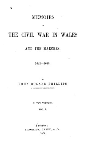 Memoirs of the Civil War in Wales and the Marches