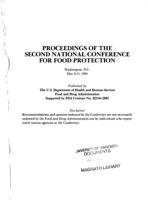 Proceedings of the Second National Conference for Food Protection  Washington  D C   May 9 11  1984 PDF