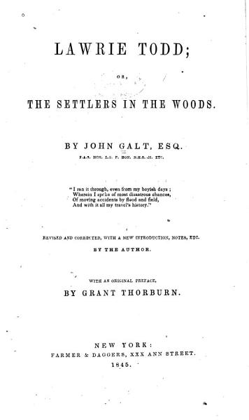 Download Lawrie Todd  Or The Settlers in the Woods Book