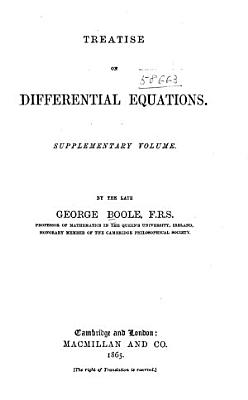 A Treatise on Differential Equations  Supplementary Volume