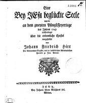Eine Bey JEsu beglückte Seele wurde an dem zweyten PfingstFeyertage des Jahres 1749 nachmittags über die ordentliche Epistel