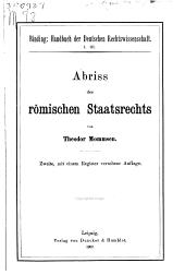 Abriss des römischen Staatsrechts