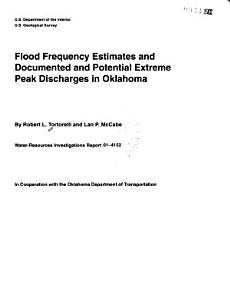 Flood Frequency Estimates and Documented and Potential Extreme Peak Discharges in Oklahoma PDF
