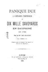 Panique due à l'invasion prétendue de dix mille savoyards en Dauphiné, en 1789