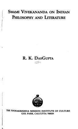 Swami Vivekananda on Indian Philosophy and Literature PDF