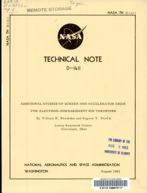 Additional Studies of Screen and Accelerator Grids for Electron bombardment Ion Thrustors PDF