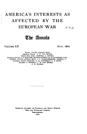 America's Interests as Affected by the European War
