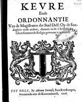 Keure, ende ordonnantie van de magistraten der stad Delf: Volume 1