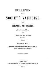 Bulletin de la Société vaudoise des sciences naturelles: Volume14