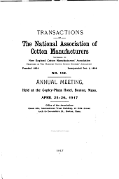 Transactions of the National Association of Cotton Manufacturers: Issue 102