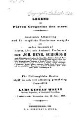 Legend om påfven Gregorius den Store: Academisk afhandling
